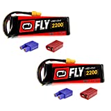 Venom Fly 30C 3S 2200mAh 11.1V LiPo Battery with  UNI 2.0 Plug (XT60/Deans/EC3) x2 Packs Compare to E-flite EFLB22003S30