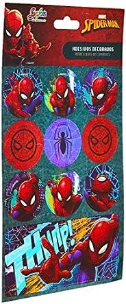 Acessorio Para Planners Spider-Man Adesivo Metalizado - Pacote com 10, Tilibra, 29.584, Multicor