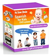 SPANISH FOR KIDS: Early Language Learning System (Spanish in just 20 minutes) Kid Start Spanish - 4 DVDs + Music CD + Large Book + 50 Flashcards + Games + Apps included. by Kids Spanish DVD - Complete Set
