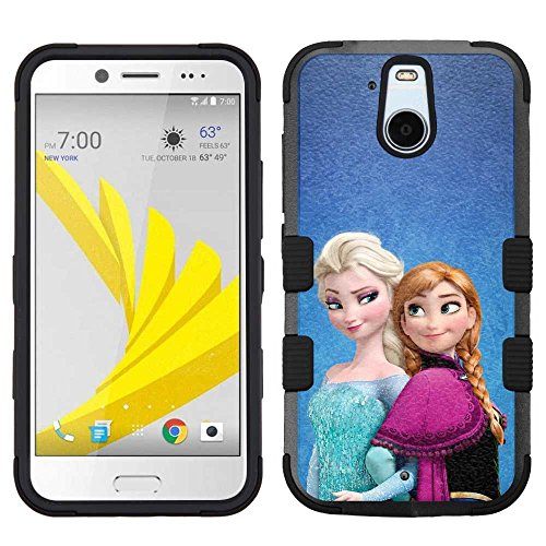 for HTC Bolt (Sprint), Adamantine+Rubber Dual Layer Hybrid Heavy-Duty Rugged Armor Cover Case - Frozen #Sisters Elsa Anna
