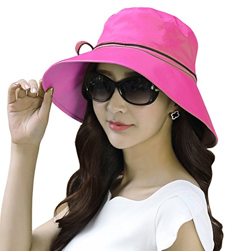 Women Ladies Summer Sun Hat - WITERY Wide Brim Sun Hats Foldable Beach Hat Sun Visor Cloche UPF50+ Cap UV Protection for Women Girl Rose - Girls Uk Sun