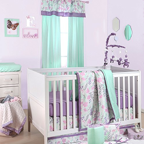 Floral Musical Crib (Pink and Purple Floral and Mint Dot 5 Piece Crib Bedding by The Peanut Shell)