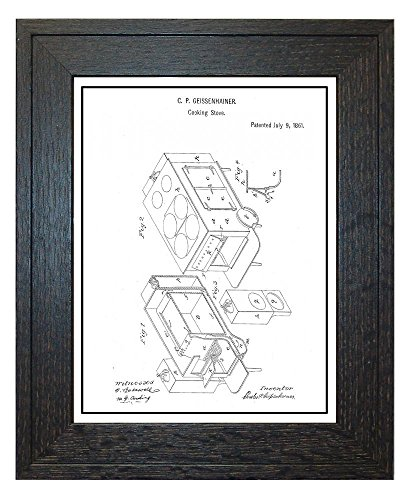Cooking Stove Patent Art White Matte Print with a Border in