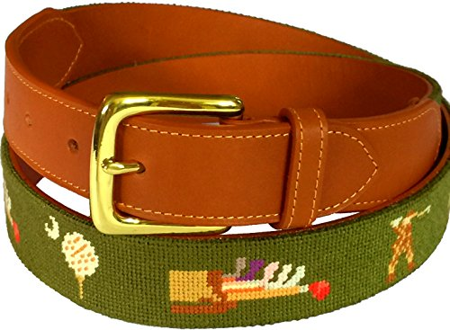 Charleston Belt Vintage Golf Fairway Green Leather Needlepoint Belt (38) ()