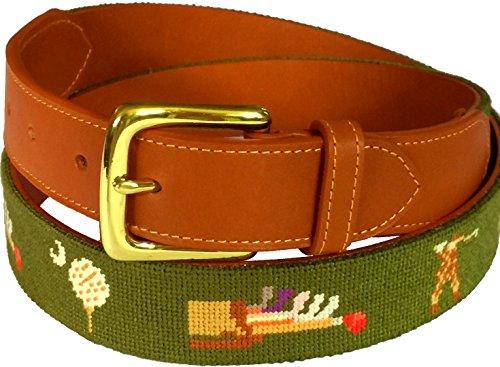 Charleston Belt Vintage Golf Fairway Green Leather Needlepoint Belt (38)