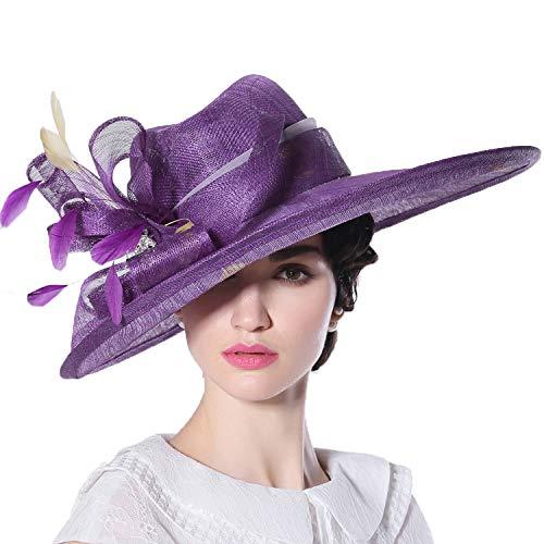YANGLAN Summer UV Protection Sun Hat, Big Along The Yarn Yarn Visor, Fashion Aristocratic Banquet Hat Female, Purple