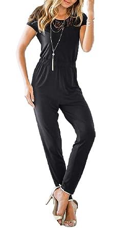 Pamelas Womens Pure Color Lace Short Sleeve Slim Casual Round Neck Jumpsuit Romper Formal Jumpsuit -