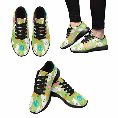 InterestPrint Womens Jogging Running Sneaker Lightweight Go Easy Walking Casual Comfort Running Shoes Easter Pattern With Eggs Rabbit and Carrots Multi 1 n8XgZzz