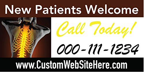 Custom Printed Chiropractic Banner - New Patients Welcome (10' x 5') by Reliable Banner Sign Supply & Printing