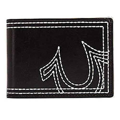 True Religion Men's Embroidered Leather Bifold Wallet in Black