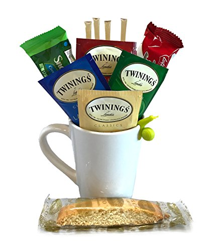 Tea Gift Set with Premium Twinings Teas, Honey Sticks, Biscotti + More -Lots of Cup Styles- (Hot Tea) (Breakfast Themed Gift Baskets)