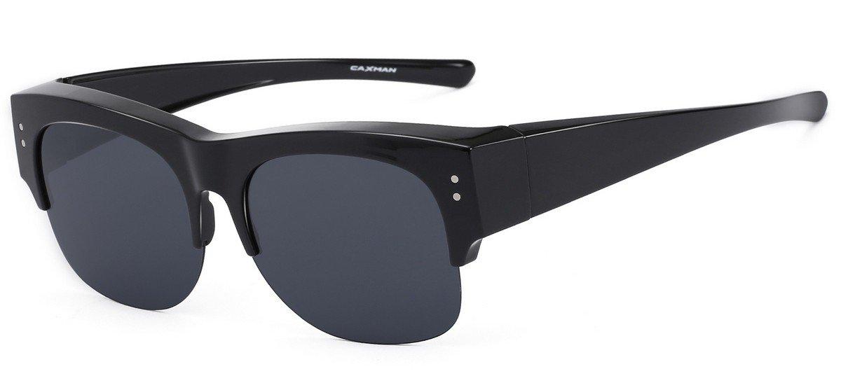CAXMAN Oversized Wear Over Glasses Sunglasses Polarized Lens for Prescription Glasses Half Frame, Black Frame Black Lens