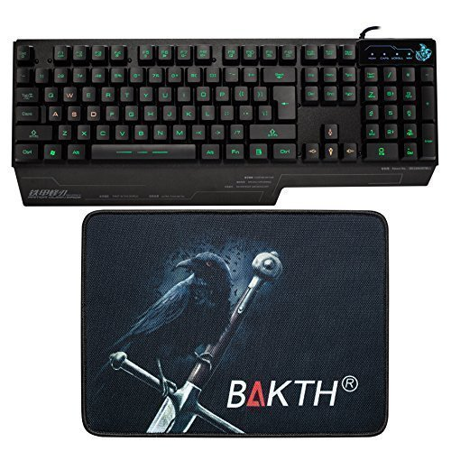 BAKTH 3 Colors Illuminated LED Backlight Multimedia Wired USB Gaming Keyboard US Layout + Customized Large Mouse Mat