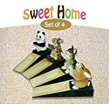 Friendly House Wooden Animal Novelty Wedge Door stopper, Home Decoration (Sweet Home Set of 4)