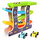 Wondertoys Wooden Ramp Race Track Parking Garage Vehicle Playsets Educational Toys for Toddler with 4 Mini Racers