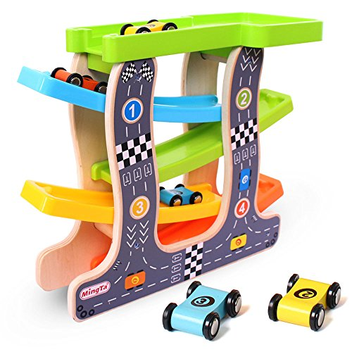 Wondertoys Wooden Ramp Race Track Toddlers Car Toys with 4 Small Wood Racers and Parking Garage Set Early Development Racers Playset Game (Race Cars Wooden Set)
