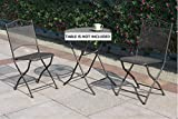 Set of 2 Foldable Chairs with Wrought Iron Frame and Matte Metal Mesh Finish