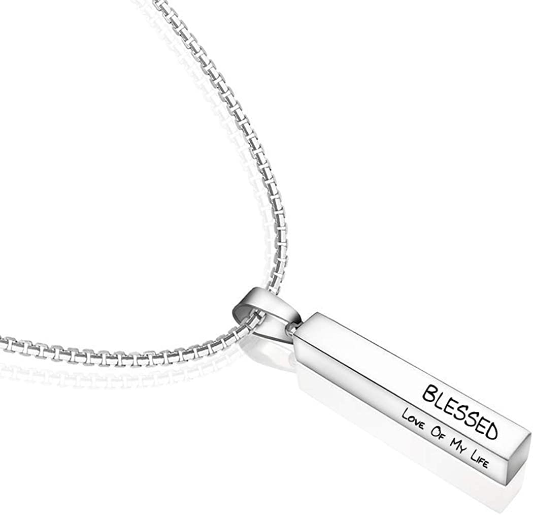 Personalized Bar Necklace with Name Custom 4 Sides Engraved Vertical Bar Necklaces for Women Customized Stainless Steel Pendant Jewelry Necklace Gift for Men
