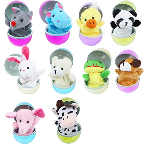 (10 Pieces Easter Eggs Filled with Finger Puppets, Easter Theme Party Favor, Easter Eggs Hunt,Kids Plush Animal Finger Puppets Set in Plastic Eggs)