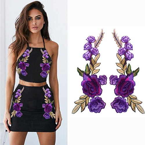 Cute Halloween Embroidery Designs (Franterd 2PC DIY Roses Pair Flowers Floral Collar Bouquet Boho Embroidered Appliques patches Sticker Applique Badge (A, Purple))