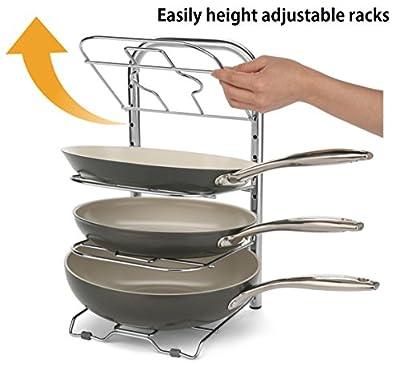 BTH Height Adjustable Heavy Duty Pan Pot Organizer 12-Inch Large Skillet Pan Pot Rack Holder Kitchenware Cookware Kitchen Cabinet Countertop Storage Solution Stainless Steel Shelf Organizer