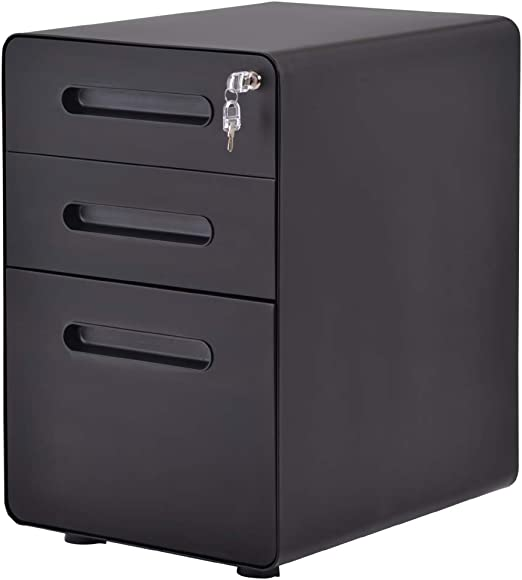 Office Filing Pedestal Cabinets Chest of 3 Drawers Rolling Lockable Under Desk