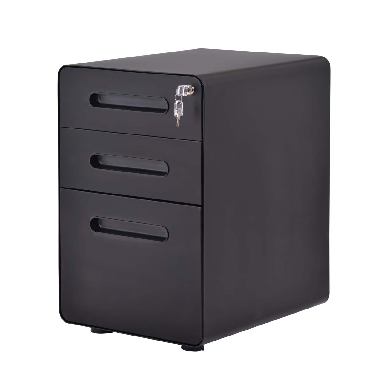 Merax File Cabinet Mobile 3 Drawer Metal Pedestal Filing Cabinets with Lock Key 5 Rolling Casters Fully Assembled for Home Office Hanging Folders A4 Letter Legal Size
