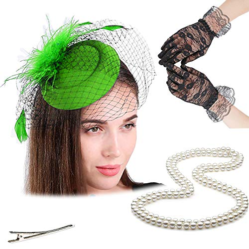Fascinators 20s 50s Hats for Womens,Cocktail Party Hat,Tea Party Wedding Headband,w/Pearl Necklace & Lace Gloves (One Size, 4-Green) -