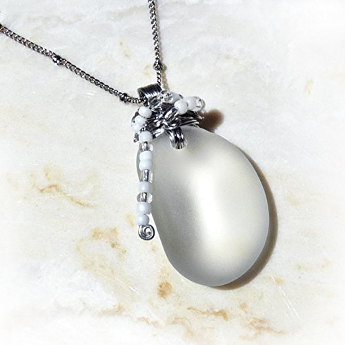 Frosted Clear Cultured Sea Glass Pendant – Translucent White  Silver, Stainless Steel Handmade Wire Wrapped Sea Glass Pendant Necklace with a Beaded …