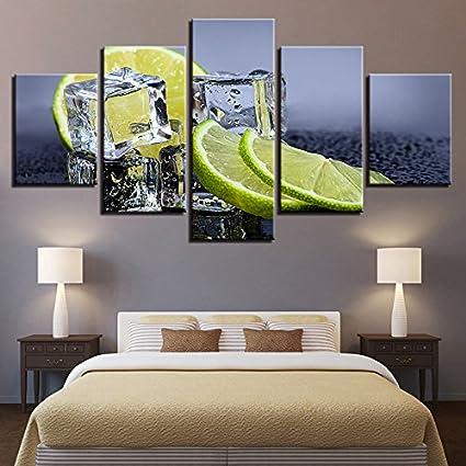 WMWSH Lienzo HD Imprime Fotos Decoración para El Hogar 150x80CM 5 Piezas Cubitos De Hielo De Fruta Y Limón Pinturas Mordern Carteles Salón Arte De La Pared,Cuadro En Lienzo HD Pintura Al Óleo