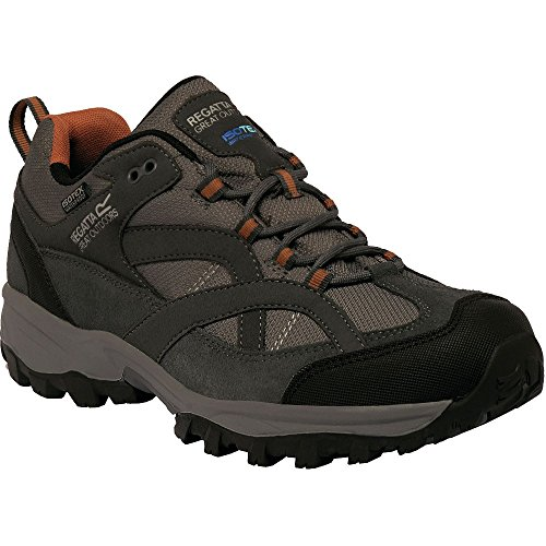 Regatta Mens Alderson Low Waterproof Lightweight Suede Walking Shoes Granite / Ginger