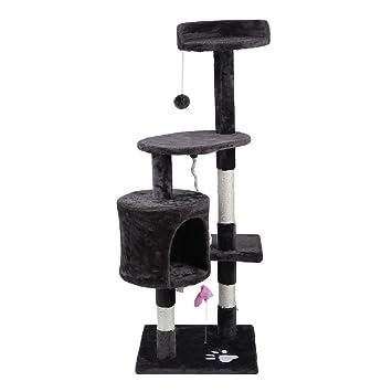 Feketten rascador Gato árbol, 112 cm Cat Tree rascador para Gatos con caseta para Perro, Gris: Amazon.es: Productos para mascotas