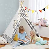 OlarHike Teepee Play Tent for Kids, Girl and Boy, Durable Baby Toddler Tents with Window, Colorful Lights, Flag, Carpet, Non-Slip Base