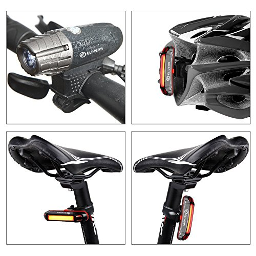 Elivern Super Bright LED Bike Light, Flash Bike Light Front and Back, 400 Lumens Headlight and 100 Lumens Tail Light,Easy Installation,Waterproof,USB Rechargeable Bike Light for Mountain Bikes by Elivern (Image #1)
