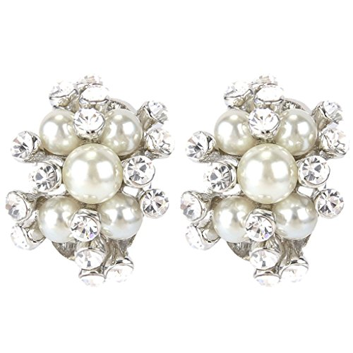 Mother Of Pearl Cluster Earring - EVER FAITH Austrian Crystal Cream Simulated Pearl Bridal Cluster Pierced Stud Earrings Clear Silver-Tone