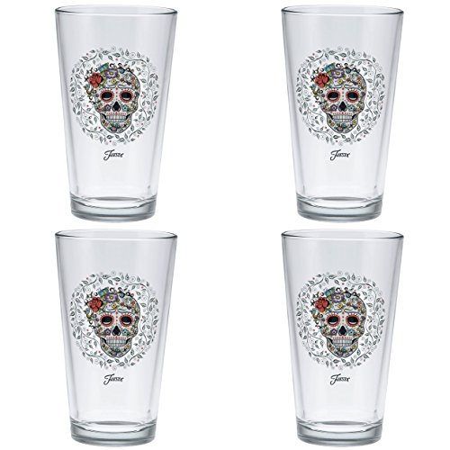 Price comparison product image Officially Licensed Fiesta Skull and Vine Sugar 16-Ounce Tapered Cooler Glass Set of 4