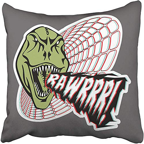 Rawr Face - Throw Pillow Cover Polyester 18X18 Inches Face Rawr Boys Cartoon Comic Cool Dinosaur Drawn Graphic Decorative Cushion Pillow Case Square Two Sides Print Home