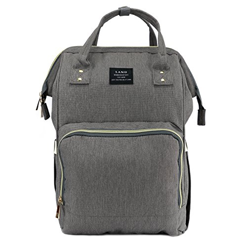Baby Diaper Bag Large Capacity Mommy Backpack Baby Nappy Tote Bags Multi-Function Travelling Backpack for Mom Travellers Nurses Students (Grey)