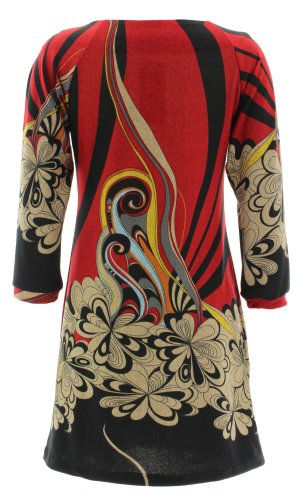 1031 Punto Dress Purplish Floral Vestido Rojo TYCqIqF