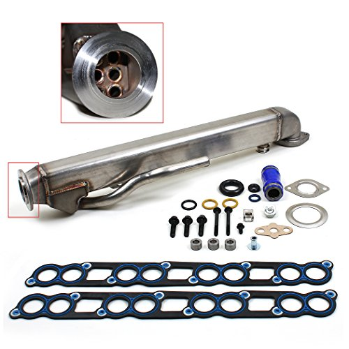 New EGR-CK-300 UPGRADED 6 Stainless Steel Tubes EGR Cooler Kit with Gaskets / 04-10 Ford PowerStroke Diesel Turbo E-Series F-Series Excursion 6.0L (363cid) OHV V8