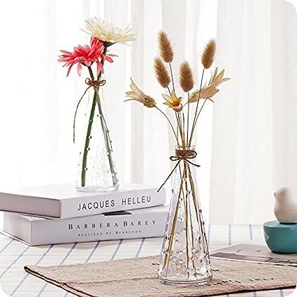 UWSZZ Botella transparente de escritorio simple arte de vidrio jarrón arreglos florales frescos pequeñas jarrón florero
