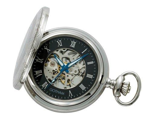 Gotham-Mens-Silver-Tone-17-Jewel-Mechanical-Covered-Pocket-Watch-GWC14036SB