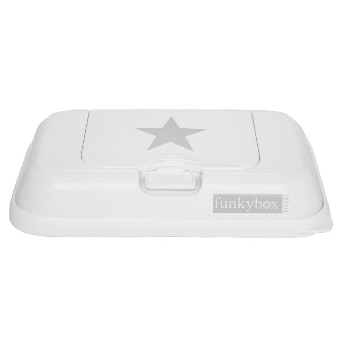 Caja para viajes resistente a la humedad de Funky Box Togoen color blanco con estrellas. Funkybox