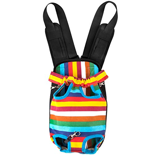 GEEPET Legs Out Front-Facing Dog Carrier Hands-Free Adjustable Pet Puppy Cat Backpack Carrier for Walking Hiking Bike and Motorcycle (X-Large, Colorful Strips) (Best Affordable Adventure Motorcycle)