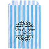 Personalised Wedding Sweet Bags CURLY BORDER Candy Cart Wedding Favours Confetti Engagement (30, Blue striped) by Made by Mika