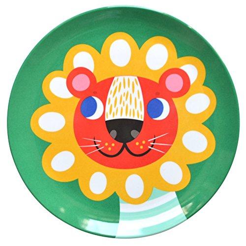 Helen Dardik Melamine Side Plate Lion on Green by Helen Dardik