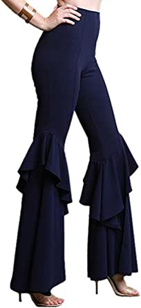 MS Mouse Womens High Waisted Wide Leg Long Ruffle Falbala Bell Bottom Pants