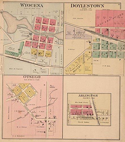 County Atlas | 1890 Wyocena, Doylestown, Otsego, and Arlington, Columbia County, Wisconsin. | Historic Antique Vintage Map Reprint