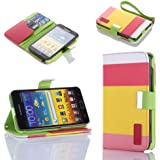 ATC Lumsing Painting Series Leather Wallet Case with Stand and Credit Card Holder for Samsung Galaxy Note i9220 GT-N7000 - Red+Yellow+Pink