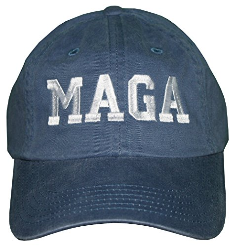 Trump MAGA Embroidered Denim Hat MAKE AMERICA GREAT AGAIN #MAGA Baseball Cap (Steel Blue Denim)